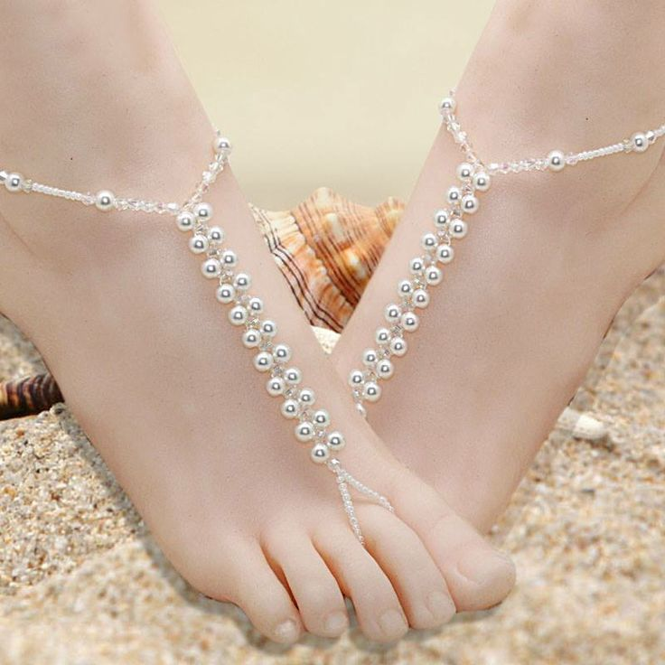 Accessorize your feet with Extravagant White Pearl Foot Jewelry!!