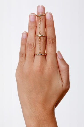 """Battle of the Bands"" Gold Knuckle Ring (Via Lulus.com"