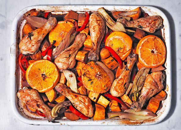 This chicken sangria traybake recipe has a sticky red wine and orange glaze, which keeps the chicken deliciously moist