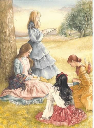 Little Women by Louisa May Alcott. A true classic. Meg, Jo, Beth & Amy. Read it online here:     http://www.online-literature.com/alcott/littlewomen/: