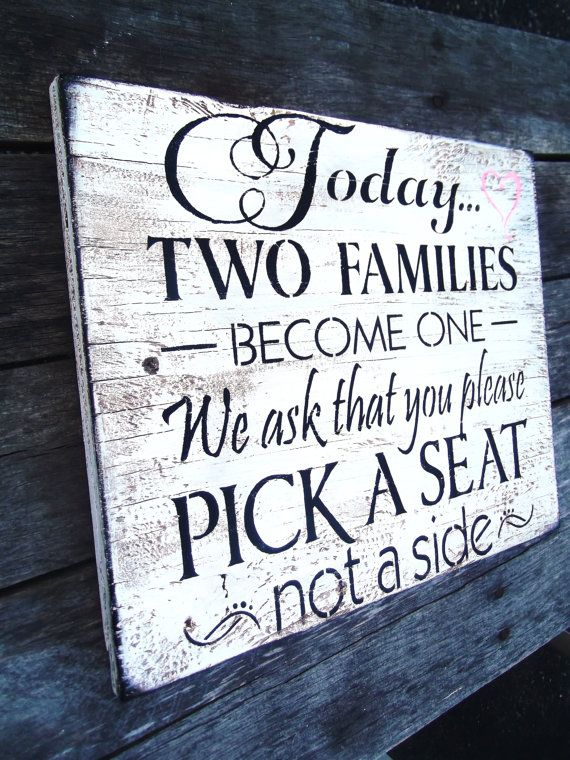 Rustic Wedding Seating Sign READY TO SHIP only 1-Today two families become one... beach wedding country southern outside wedding chic shabby