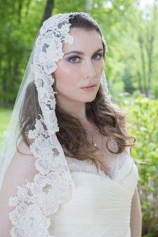 Wedding Veil - Vintage French Alencon Lace Mantilla Veil with Dramatic Train