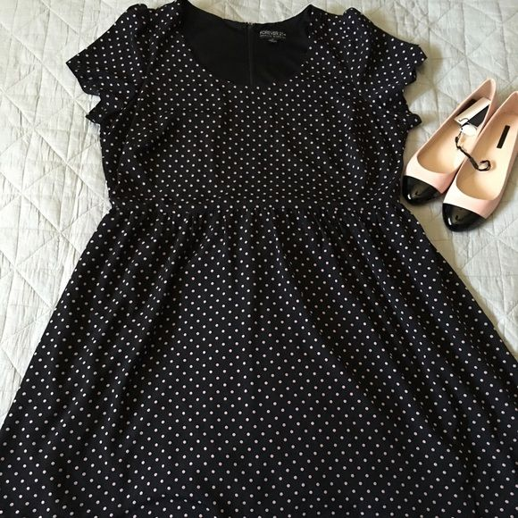Forever 21 Polka Dot Dress -2x Super cute dress with pink polka dots from…