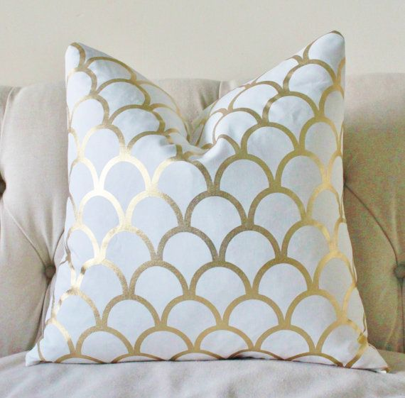 Gold Metalic Pillow - Designer Gold Large Scale Scallop - Caitlin Wilson - Gold Geometric Pillow Cover - Gold Home Decor- Gold White Pillow