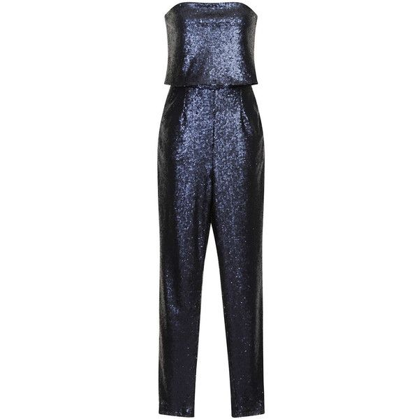 TOPSHOP **Navy Sequin Cropped Jumpsuit By Lavish Alice (140 CAD) ❤ liked on Polyvore featuring jumpsuits, navy blue, topshop jumpsuit, topshop, jump suit, jumpsuits & rompers and sequin jump suit