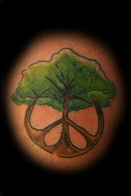 tree peace tattoo