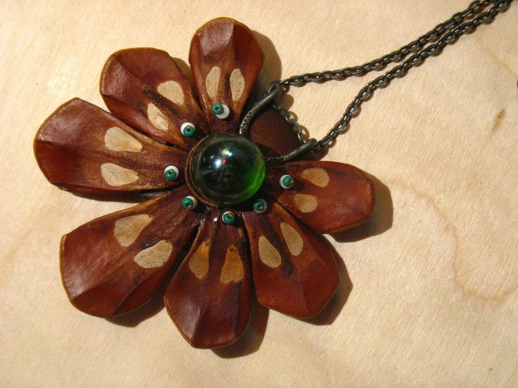 pine cone scales necklace, with green marble.