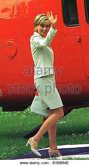 Princess Diana Princess of Wales getting ready to board helicopter Queen s Flight at Leicester University waving - Stock Image