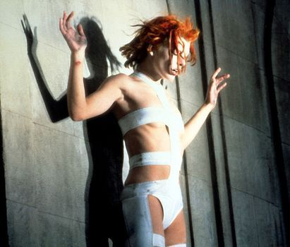 Milla Jovovich as Leeloo in Luc Besson's 1997 film The Fifth Element.  Costume designed by Jean Paul Gaultier.