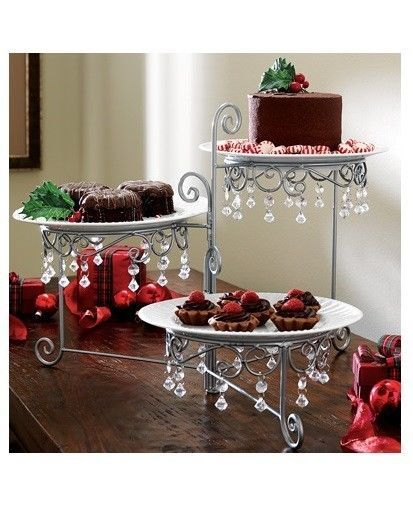 3 Tier Beaded Dessert Buffet Server Plate Stand Christmas Holiday Table Dec..