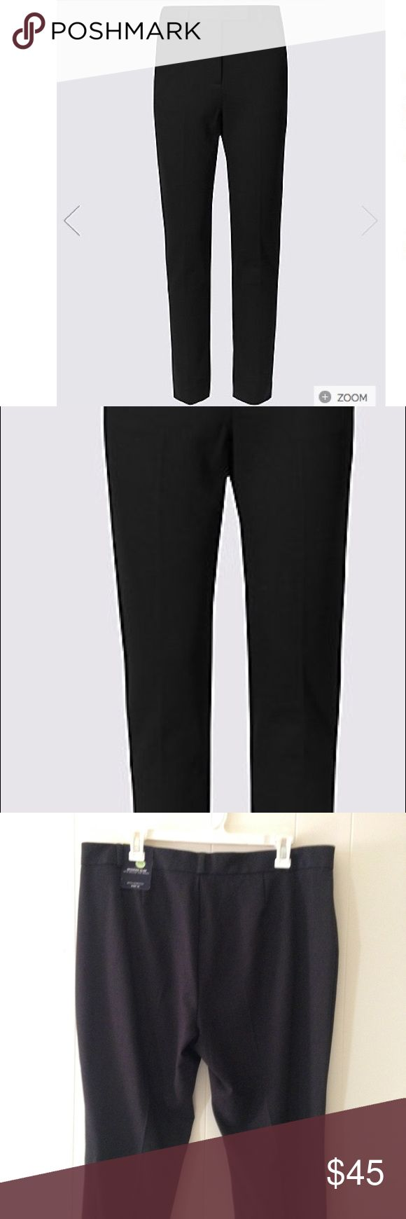 🎄🎁NWT Slim leg trousers with stretch size 12 New M & S collection slim leg trousers that is classically stylish. Size 12 US/16 UK short mid rise, sits below the waist, fastens with hook bar and zip with added stretch. Charcoal colored. Marks & Spencer Pants Trousers