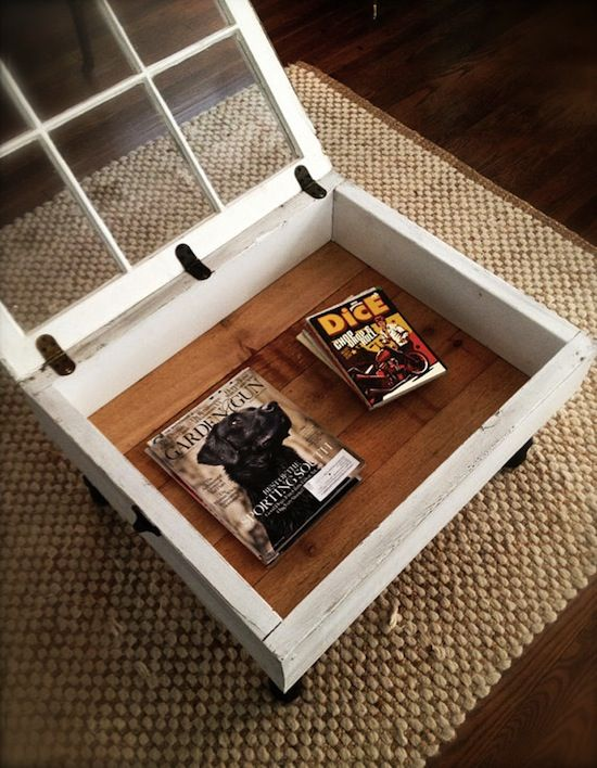 Window coffee table: Definitely going in my apartment. Already found a great window for $10 at an antique store!