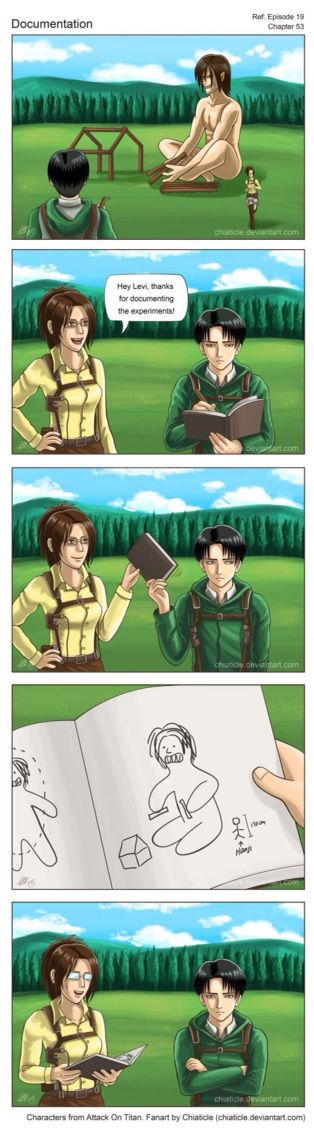 We all remember the episode Levi drew a diagram of Eren and it was atrocious - Levi and Hanji funny AOT SNK