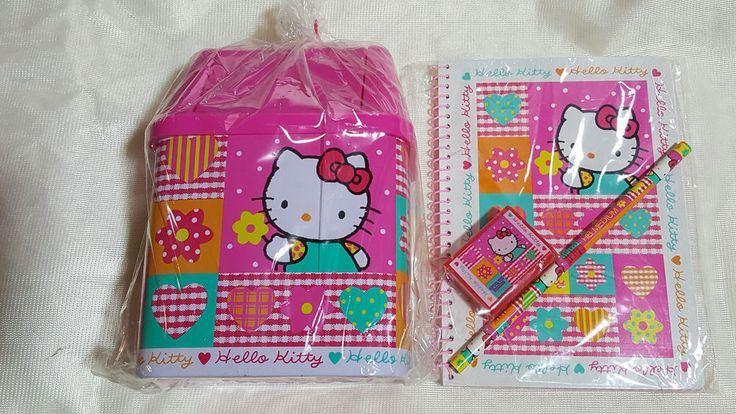 Vintage Sanrio Hello Kitty Mini Garbage Can, Notebk, Pencil, Sharpener Set-NEW!