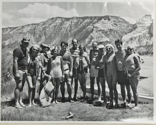Large format album from the Kennedy Family Green River rafting trip during the summer of 1969, including Ted and Joan Kennedy, Ethel Kennedy, Pat Kennedy Lawford, Willy Schaeffler, Jim Whittaker, Lem Billings, John and Ann Culver, John and Mieka Tunney, children and others. 11 x 14 inches.
