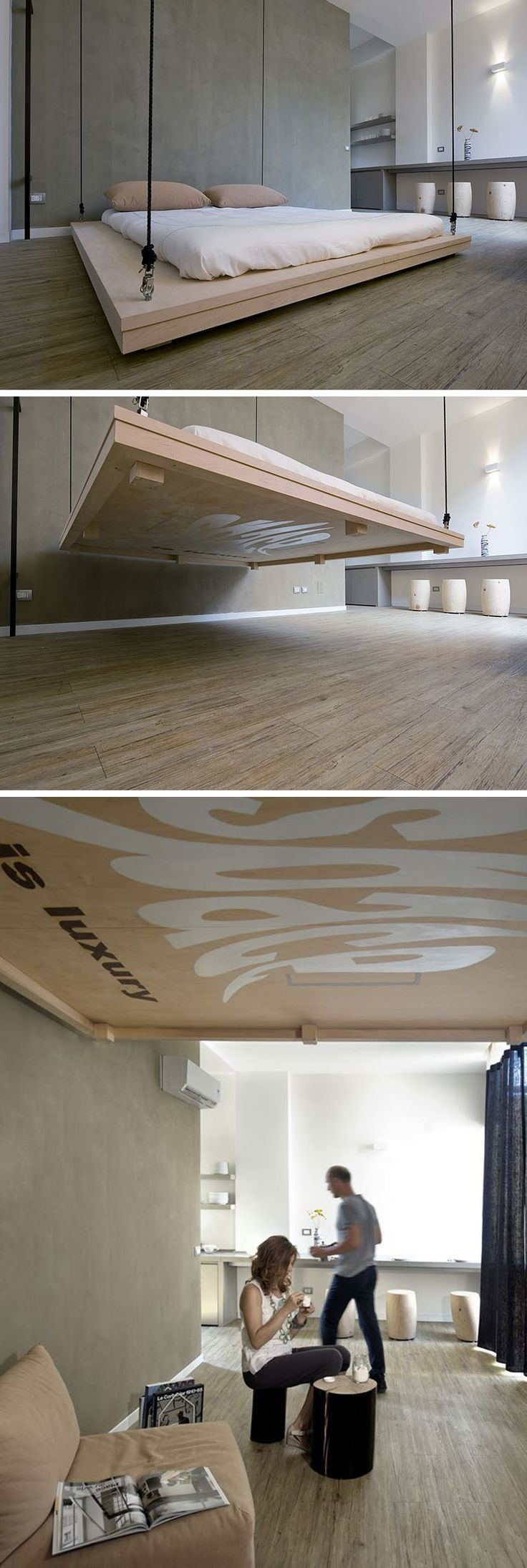 In this small apartment, the bed can be hoisted up to the ceiling to make way…
