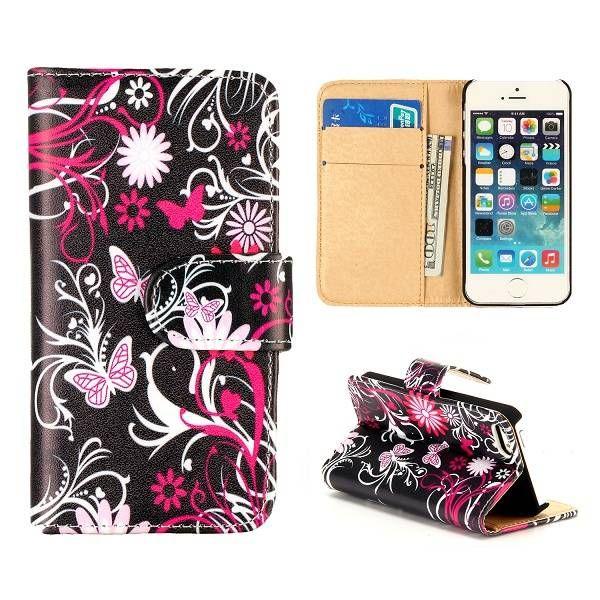 Roze vlinders booktype hoesje voor iPhone 5 / 5S