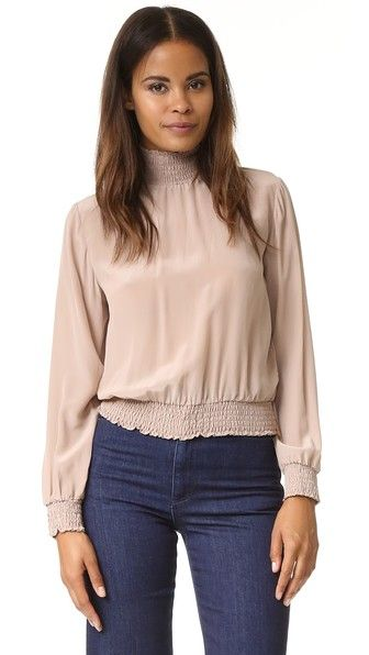 ANINE BING High Neck Smock Top