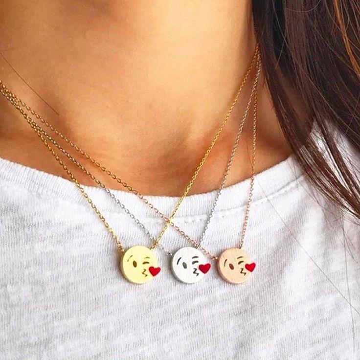 1 , 2 or 3  Beautiful  kissy #emoji necklaces purchase @imsmistyle  perfect gift for #valentines day ● ● ● .#bestoftheday  #amazing #sexy #vegas_nay #amazingmakeup #hot  #likeforlike #like4like #love  #woah #awesomeness #fashion #love #jewelry #se