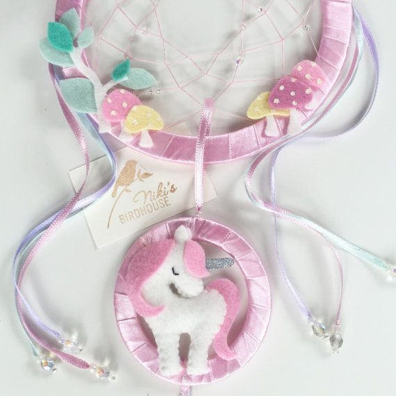 Unicorn dreamcatcher for kids with toadstools  by NikisBirdhouse