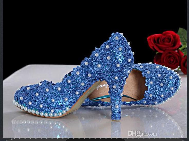 Bling Bling Pearl Lace Blue Flowers Luxury High Heel Wedding Shoes Silver Bridal Dress Shoes Woman Nightclub Party Banquet Dress Shoes from Bestorder,$126.29 | DHgate.com