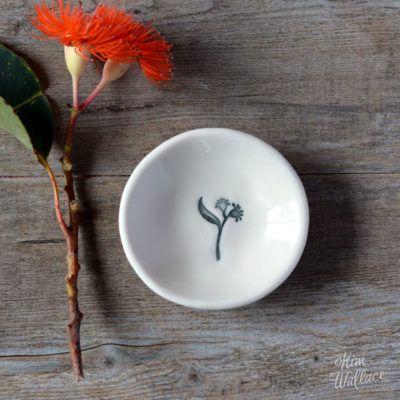 Bush Prints Collection ~ flowering gum tiny porcelain bowl    A collaboration between artist Renée Treml and Kim Wallace Ceramics ~ Handmade Australian Ceramics