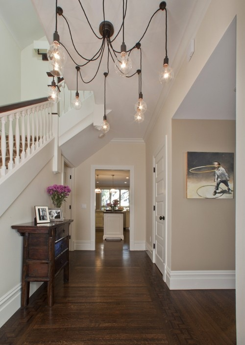 Love this chandelier: Wall Colors, Idea, Lights Fixtures, Trav'Lin Lights, Paintings Colors, Bulbs, Edison Chandeliers, Foyers Tables, Pottery Barns