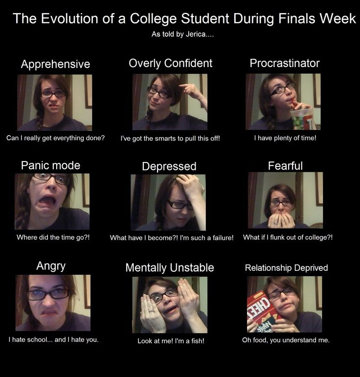 "The evolution of a college student during finals week. Very accurate, except I would add the final stage: ""It's go time.""  