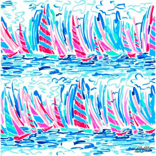 My water color boat stripe 5x5 Lilly Pulitzer