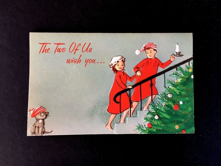Cute couple in red pajama's heading to bed. as their darling kitten with Santa's cap looks on. Unused with original envelope. A Gibson card. All card sales are final. Made in U.S.A. | eBay!