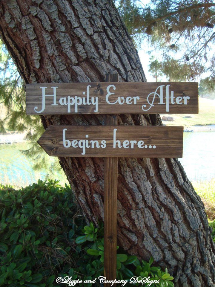 HaPPiLy EVeR AfTeR SiGn - Fairy Tale Style Lettering - DiReCTioNaL  Wedding SiGnS - 4ft Stake - RuSTic  WooDLanD Wedding Sign - Dark Stain