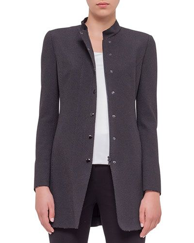 B343H Akris punto Birdseye-Snap Front Long Jacket, Black Cream