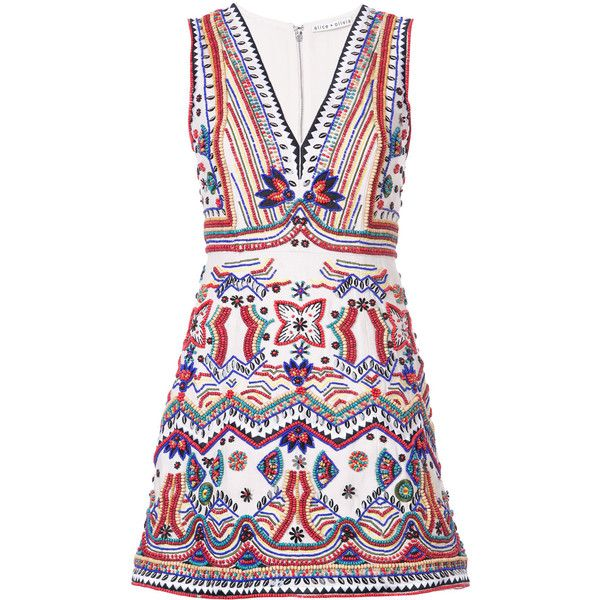 Alice+Olivia beaded embroidered mini dress (1,540 CAD) ❤ liked on Polyvore featuring dresses, white, alice olivia dress, beaded dress, beading dress, white embroidery dress and embroidered mini dress