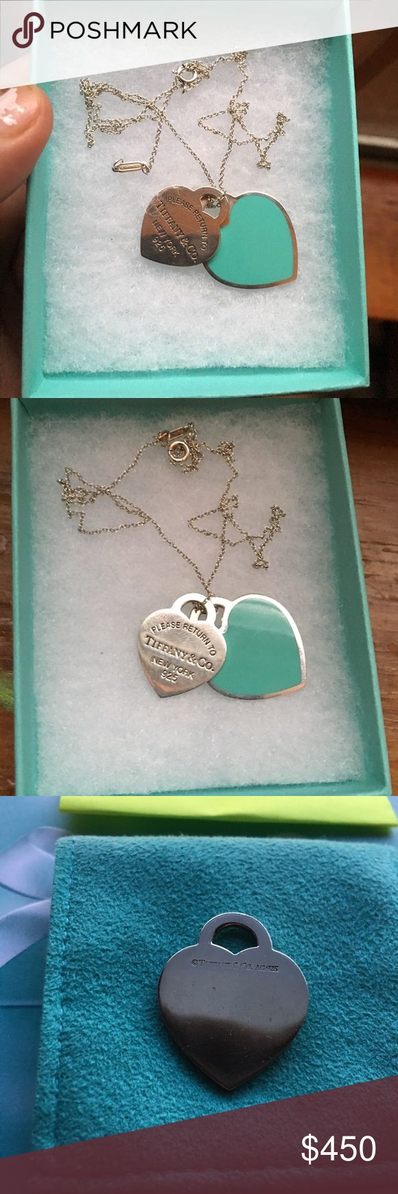 """Tiffany & co double enamel heart Necklace 20""""-SALE Authentic Tiffany & Co double heart necklace  Medium heart has scratches and engraving. Large Enamel Heart has scratches on silver stamp is starting to rub off due to the hearts rubbing but you still can see it. 925 Sterling silver chain in also Tiffany & co 20"""" Long. Used preowned condition comes with dust bag only. Tiffany & Co. Jewelry Necklaces"""