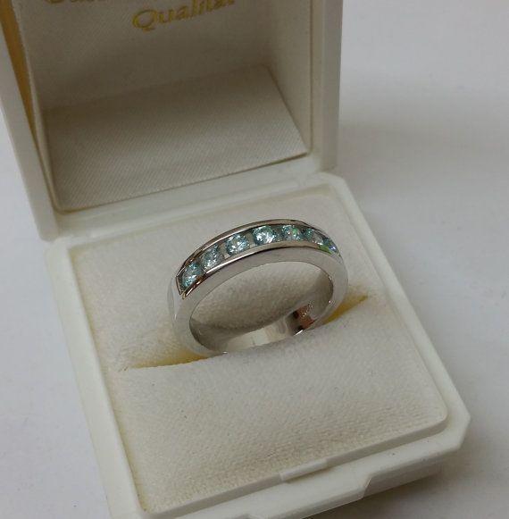 Ring 925 Silber mit 7 hellblauen Kristallen SR700 от Schmuckbaron