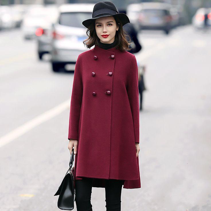 Winter Simple Long Full Sleeve Sheep Wool Wine Red Elegant Coats Womens Casaco Feminino Manteau Doudoune Femme Abrigo Mujer
