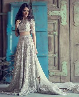 Elan Wedding Dresses Elan Wedding Lehenga...OMG Gorgeous, love the fabric.Take these details & adjust to fit your style. Be open for suggestions, from your dressmaker, on embellishments for the ultimate bridal look.
