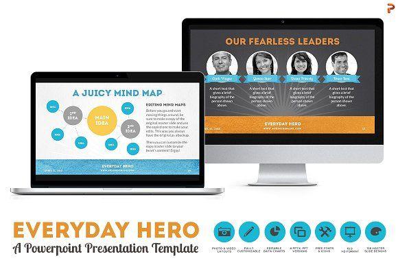 Everyday Hero Powerpoint HD Template by Blixa 6 Studios on @creativemarket