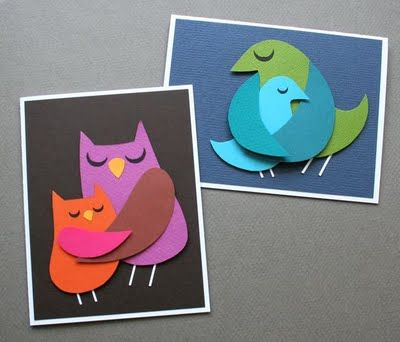 Momma Bird cut paper card. Perfect for Mother's Day! Free templates and tutorials for two Momma & Baby Bird cards from mmmcrafts blog. : )