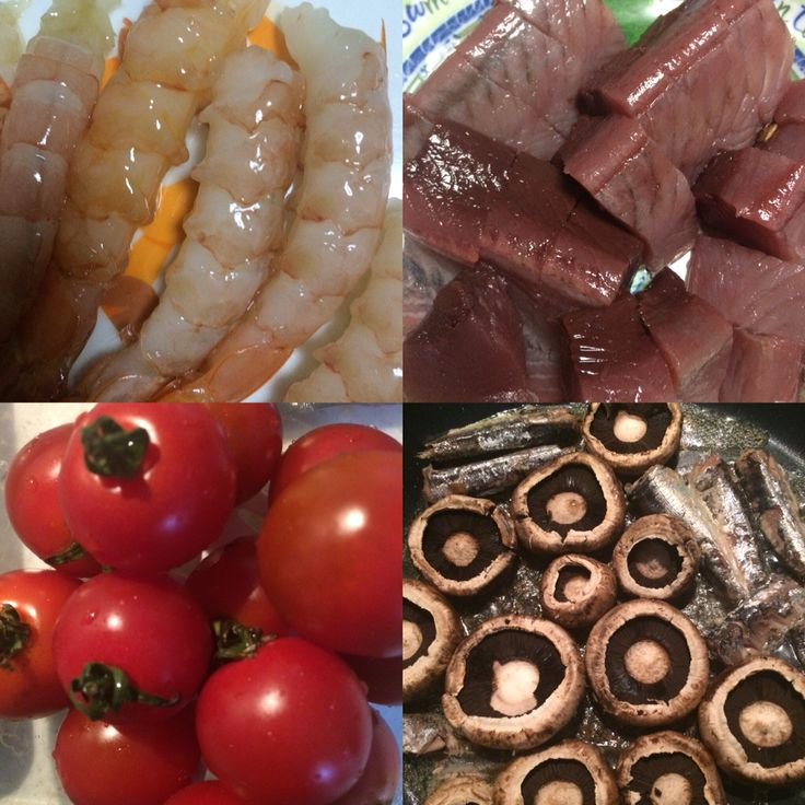 鰹と海老の刺身とオイルサーディンとブラウンマッシュルーム!