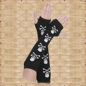 These long black gloves have skulls and crossbones up the arms. These fingerless gothic gloves will keep you warm in style. The White Skull Arm Warmers by Queen of Darkness in the Skulls and Dragons gloves range.    Weight : 20.00g    Made from cotton    Ref : SDAGL112907   Price : 8.99 GBP