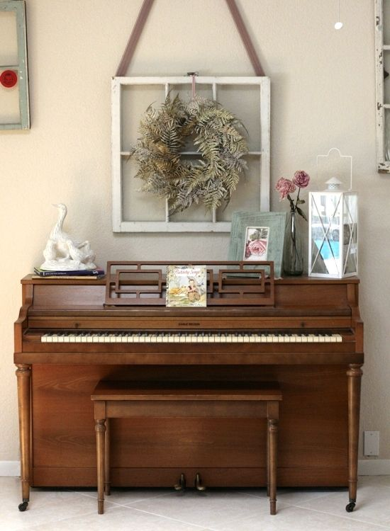 Piano decorated for Spring. via: Delighting in Today