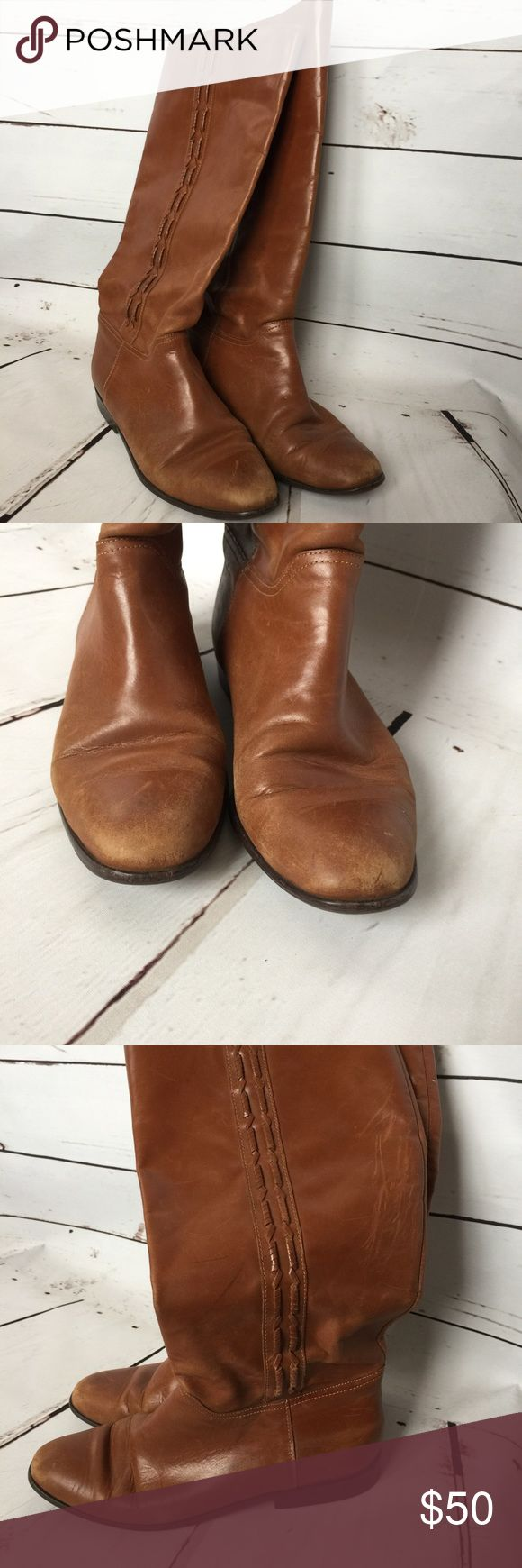 Nicole Women's Brown Leather Knee-High Boots Sz 8 Nicole Women's Brown Leather Boots 👢  Size 8  They have some scuff marks as seen in the photos but are in great condition otherwise. There's no size label but they measure as a size 8 according to the chart in the last photo. I'm happy to take any additional measurements before purchase. Nicole Shoes Over the Knee Boots