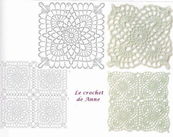 17 best images about crochet motifs square on pinterest - Jardins en carre ...