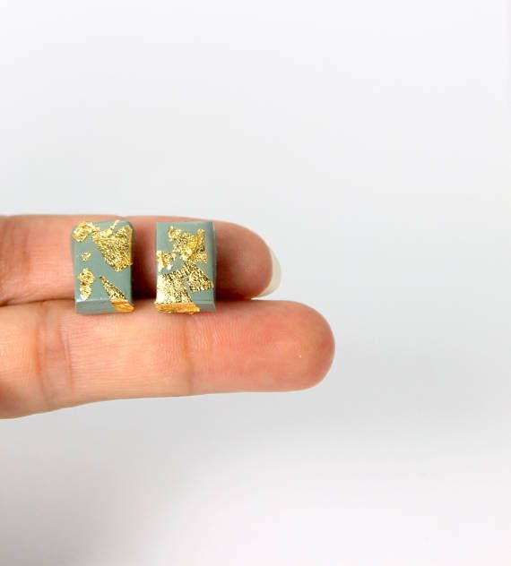 Stud earrings in sage green and gold leaf small earrings