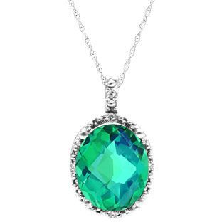 Simple Oval Cut Caribbean Quartz Diamond White Gold Pendant For Women Available Exclusively at Gemologica.com