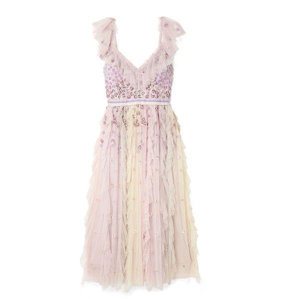 Needle & Thread Needle & Thread - Rainbow Embellished Ruffled Tulle... ($445) ❤ liked on Polyvore featuring dresses, v-neck sequin dresses, sequin midi dress, v neck sequin dress, ruffle midi dress and pastel pink dresses