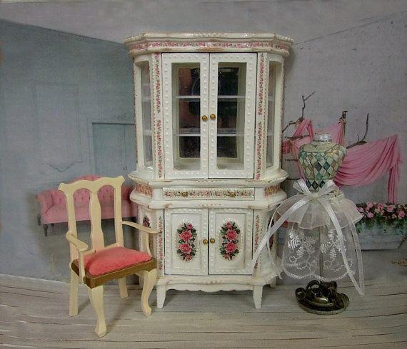 Wardrobe. Puppet cupboard in the style of a shebbie. Miniature, Dollhouse. Scale 1:12