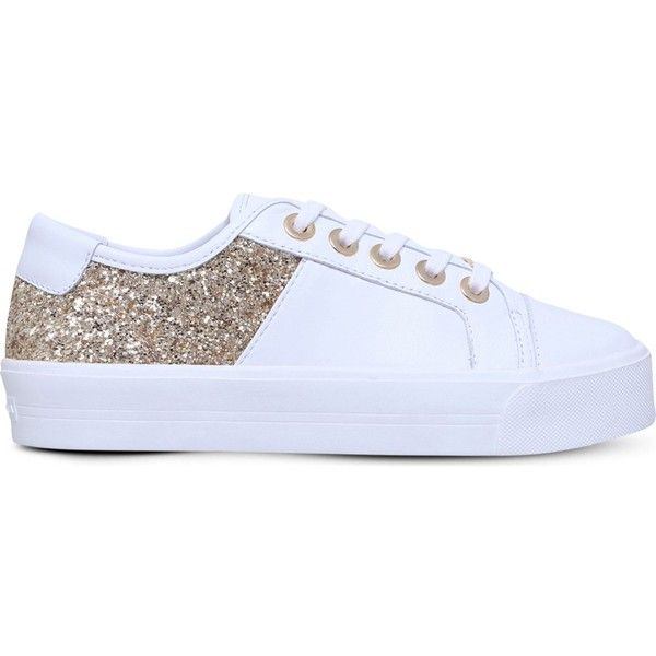 Carvela Louise leather and glitter trainers ($125) ❤ liked on Polyvore featuring shoes, sneakers, flatform sneakers, leather trainers, pastel sneakers, flatform trainers and glitter trainers