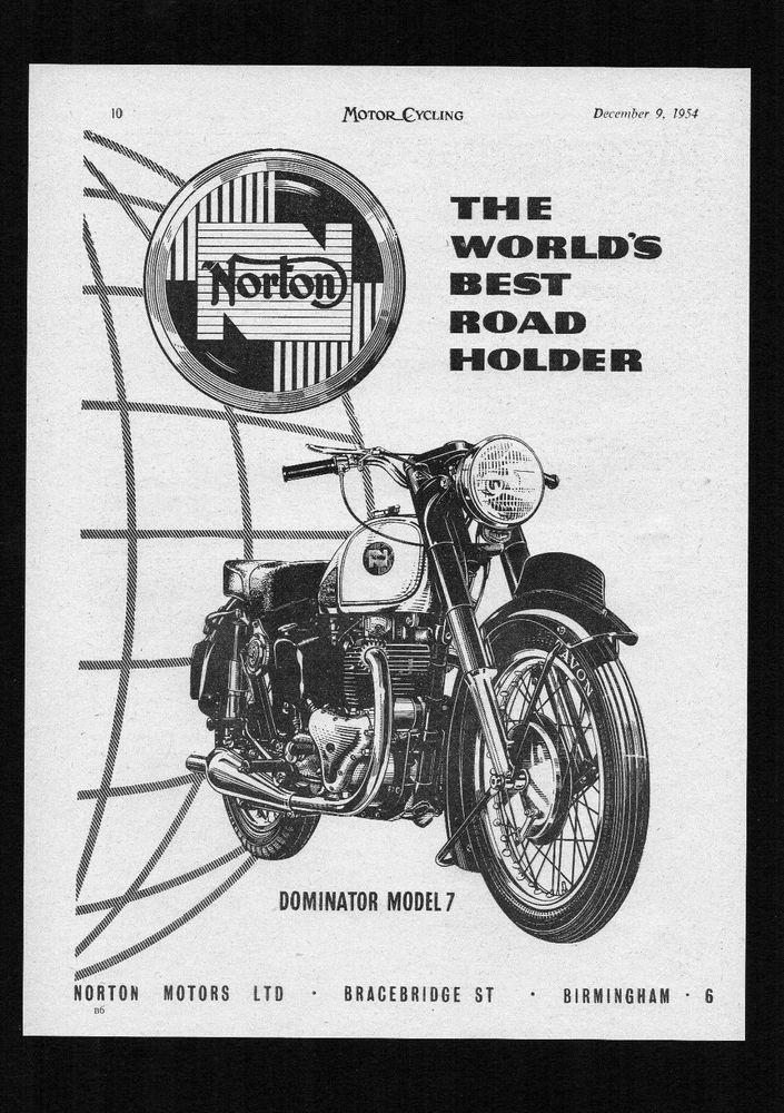 1954,1955 MODEL NORTON DOMINATOR MODEL 7 MOTORCYCLE,500 TWIN.MAGAZINE ADVERT